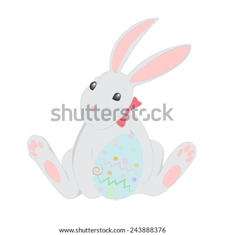Easter rabbit holding colorful egg. Vector illustration isolated on white background