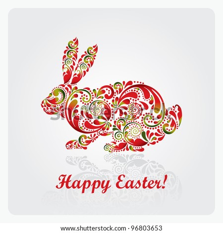 Easter rabbit made ??of leaf pattern. Vector illustration eps.10. - stock vector