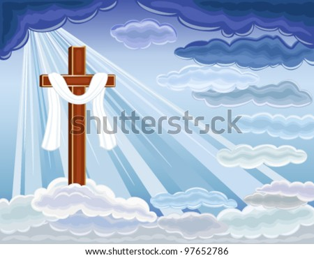 Easter religious card with the resurrection of hope and golden cross. Over blue sky. Vector file saved as EPS AI8, all elements layered, no effects, easy print and edit. - stock vector
