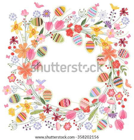 Easter round frame with contour flowers and eggs on white - stock vector