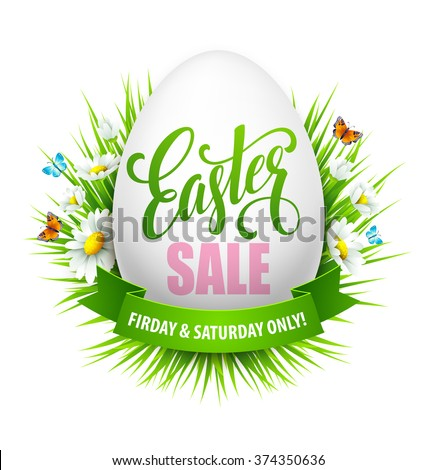 Easter sale background with eggs and spring flower. Vector illustration  - stock vector