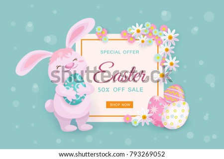 Easter sale banner design with square frame decorated with cute little bunny, painted eggs and flowers, vector illustration. Cute Easter sale banner template with text, bunny, painted eggs and flowers