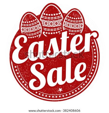 Easter sale grunge rubber stamp on white background, vector illustration - stock vector