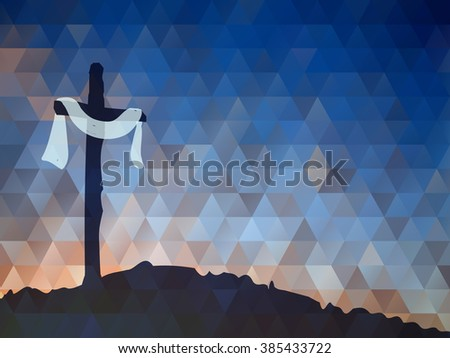 Easter scene with cross. Jesus Christ. Watercolor vector  - stock vector