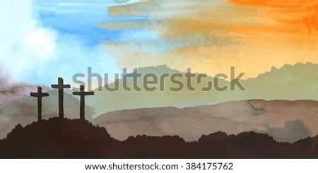 Easter scene with cross. Jesus Christ. Watercolor vector illustration   - stock vector