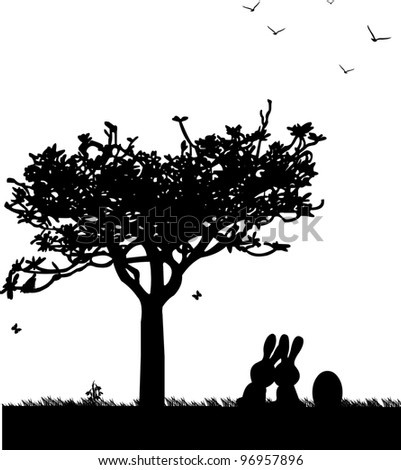 Easter scene with two rabbits which sit side by side on the lawn under a tree and Easter egg and butterflies flying silhouette - stock vector