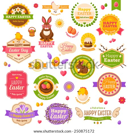 Easter scrapbook set. Labels, ribbons and other elements. Vector illustration. Cute Happy Easter Icons. Chick and Hen, Daffodils and Crocuses, Sweet Cake, Chocolate Rabbit. Easter Egg Hunt. - stock vector