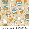 Easter. Seamless background with a children's scribble of a hare, egg, chicken, flowers, houses - stock vector