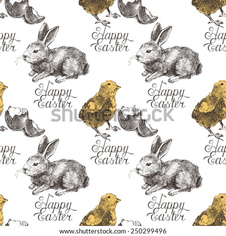 Easter seamless background with hand drawn bunny and chicken - stock vector