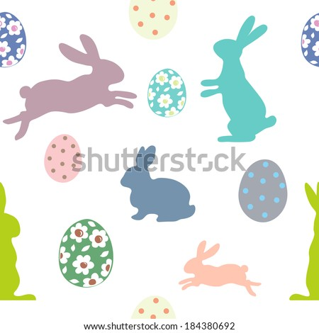 Easter seamless pattern with bunnies and eggs - stock vector