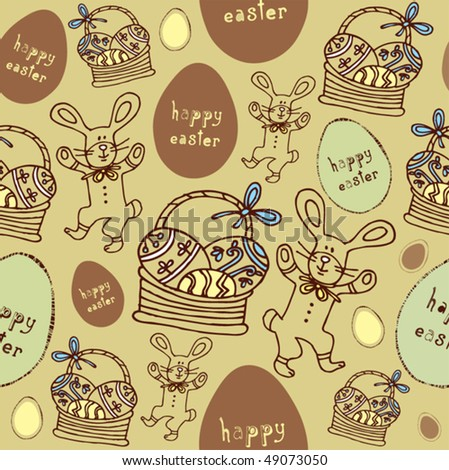 Easter seamless pattern with bunny and eggs