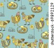 Easter seamless pattern with chicken and cock - stock vector