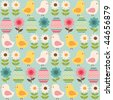 Easter seamless pattern with chicks and eggs - stock vector
