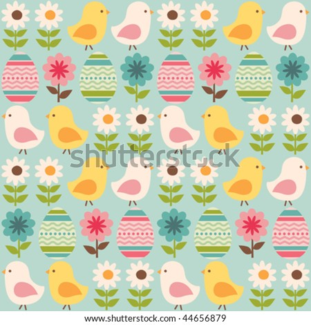 Easter seamless pattern with chicks and eggs