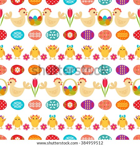 Seamless easter pattern easter eggs rabbit stock vector 245546470 easter seamless pattern with colorful easter eggs chicken basket hen and flower on negle Images