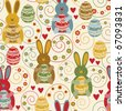 Easter seamless pattern with decorated eggs and funny rabbits - stock vector
