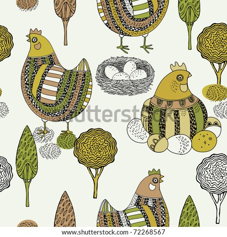 Easter seamless pattern with hen and nest - stock vector