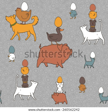 Easter seamless texture with farm animals and eggs. Hand drawn pattern - stock vector
