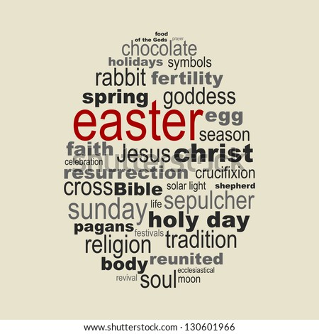 Easter season concept made with meaningful words drawing an egg - stock vector