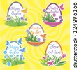 Easter set at yelloow - stock vector
