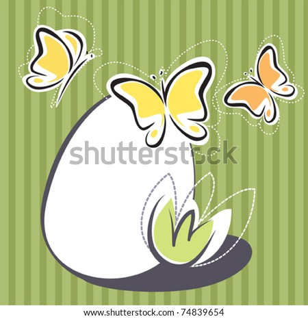 Easter simplified design with egg and butterflies - stock vector
