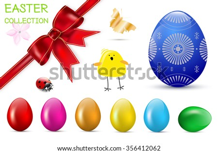 Easter spring collection - glossy easter eggs, red bow, flower, ladybug, chicken, butterfly. Vector illustration. - stock vector