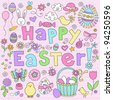 Easter Springtime Hand Drawn Notebook Doodles Vector Design Elements Set on Lined Sketchbook Paper Background- Vector Illustration - stock vector
