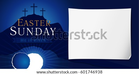Easter sunday service vector invitation text stock vector 2018 easter sunday service vector invitation with text he is risen on a background of rolled away stopboris Choice Image