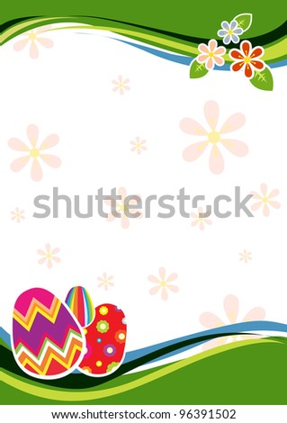 Easter template with eggs and flowers