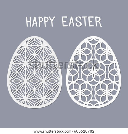 Easter Templates Laser Cutting Illustration Paper Stock Vector ...