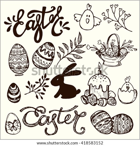 Easter traditional vector set -  bunny,  basket, egg decorating. Vector Hand drawn illustration.