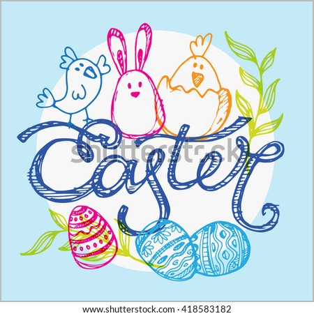 Easter traditional vector set -  bunny, egg decorating. Vector hand drawn illustration.