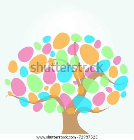easter tree with eggs eps10 - stock vector