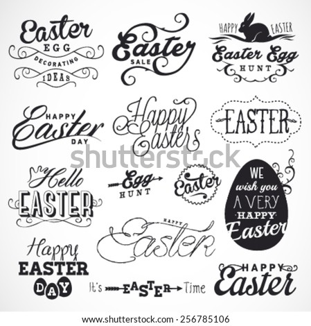 Easter Typographical Design Elements in Vintage Style. Greeting Card Illustrations - stock vector