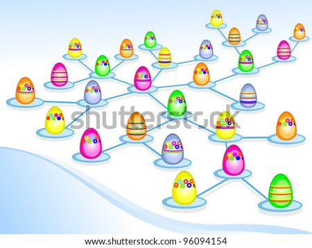 Easter vector drawing. Congratulations to the Internet. Easter eggs.