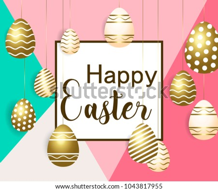 Easter vector illustration calligraphic greeting easter stock vector easter vector illustration with calligraphic greeting and easter eggs decorated with gold m4hsunfo