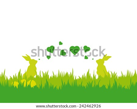 Easter vector illustration with silhouettes of two bunnies blowing valentine hearts, eggs and grass - stock vector