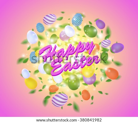 Easter vector splash with egg, leaves, spark and light effect. Abstract glowing sparkling explosive with easter colored eggs on pink background - stock vector