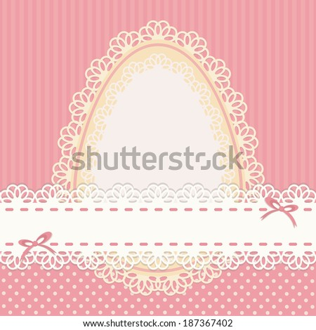 Easter vintage card with egg, decorated lace on pink dotted backdrop. Vector illustration. - stock vector