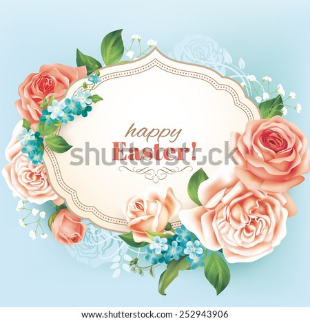 Easter vintage card with roses. Vector eps 10. - stock vector