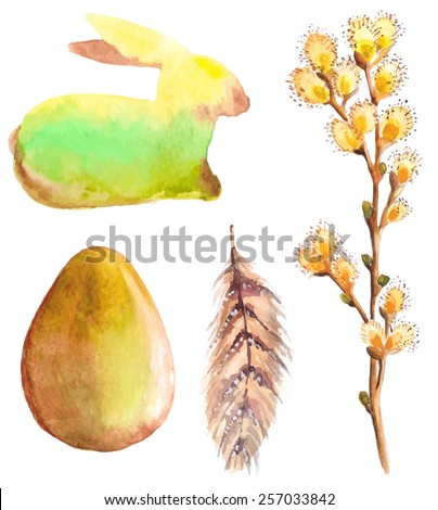 Easter watercolor collection with rabbit, egg, feather and willow for beautiful Holiday design - stock vector