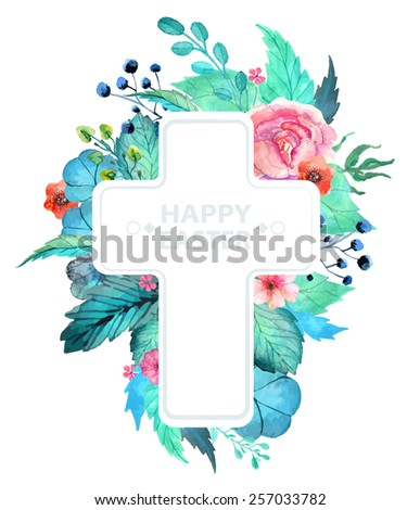 Easter watercolor natural illustration with cross sticker for beautiful Holiday design - stock vector