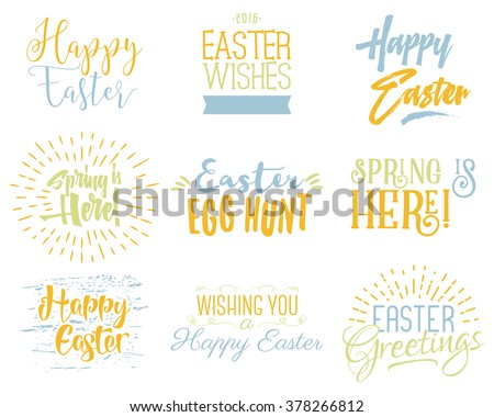 Easter wishes overlays, lettering labels design set. Holiday easter badges. Hand drawn emblems. Isolated. Religious holiday sign or logo. Easter photo overlays design for web, print. Pastel Palette. - stock vector