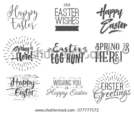 Easter wishes overlays, lettering labels design set. Retro holiday easter badges. Handdrawn emblem with ribbon. Isolated. Religious holiday sign or logo. Easter photo overlays design for web, print - stock vector