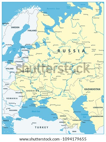 Eastern Europe Map All Elements Separated Stock Vector 1094179655 ...