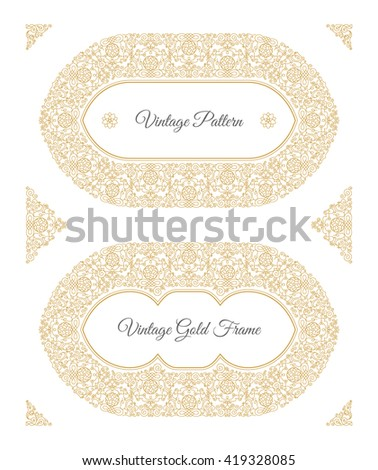 Eastern gold frame arabic vector lines stock vector 419328085 eastern gold frame arabic vector lines design templates muslim eastern floral frame for card and stopboris Images