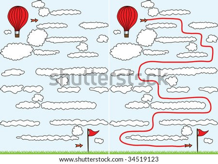 Easy balloon maze for kids with solution - stock vector