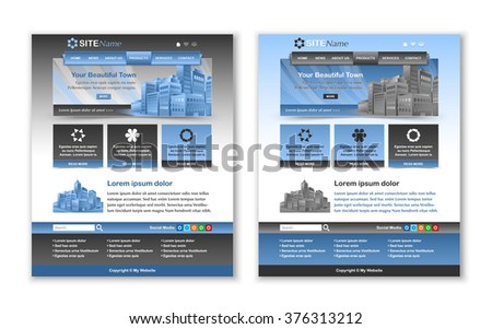 Easy customizable blue and dark grey website template layout - stock vector