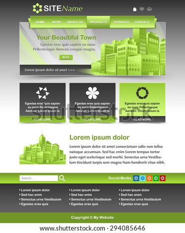 Easy customizable green and dark grey website template layout - stock vector