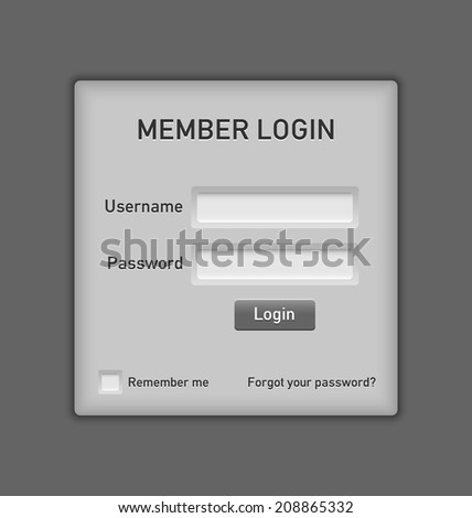 Easy customizable member login website element on grey background - stock vector